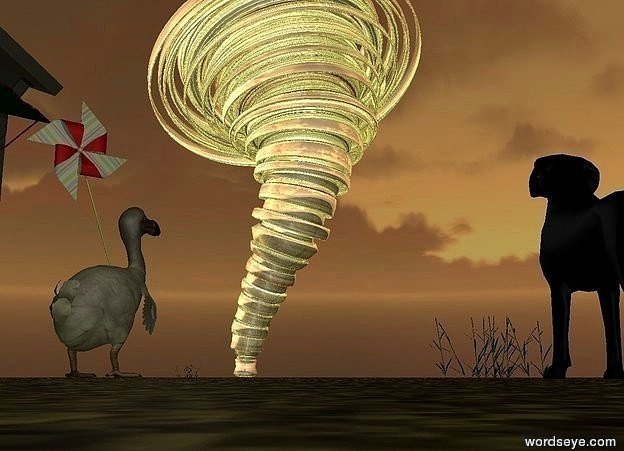 Input text: a lake. It is 1 feet in the ground. a silver tornado is -100 feet behind the lake. A 0.1 feet tall sphere is 30 feet right of the tornado. a hut is in front of the lake. It is facing east. It is -3 feet above the ground.  a dodo is 3 feet right of the hut. It is above the ground. It is facing the sphere. a 2 feet tall pinwheel is -1.1 feet above and -1.55 feet right of the dodo. It is facing southeast. It leans 20 degrees to the right. a 0.6 feet tall black dog is 5 feet in front of and 2.5 feet right of the dodo. It is facing the tornado. It is dusk. the ground is unreflective sand. a first grass is left of the dog. a second grass is right of the dodo. The camera light is dim white. a dim white light is above and in front of the dodo. a dim white light is right of the pinwheel. a dim white light is in front of the pinwheel. a dim white light is right of the dodo.