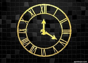 There is a shiny gold clock. it is 10 feet above the ground. There is a black wall behind the clock. the wall is 10 feet tall. the wall is 9 feet above the ground.