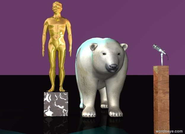 Input text:  a black [marble] cube is 1.5 feet wide. a shiny gold man is on the cube. a  large polar bear is 0.5 feet  right of the cube. a microphone is 0.1 feet southeast of the bear. it is 3 feet above the ground. it faces the bear. it sits on a 3 feet tall and 0.5 feet wide and 0.5 feet deep [wood] block. the ground is black. the sky is purple. A pink light is on the bear. a cyan light is on  the man