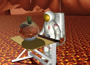 The man is behind a desk. The ground is [Texture]. There is a big clear sphere on the table. the plant is  inside the big clear sphere.