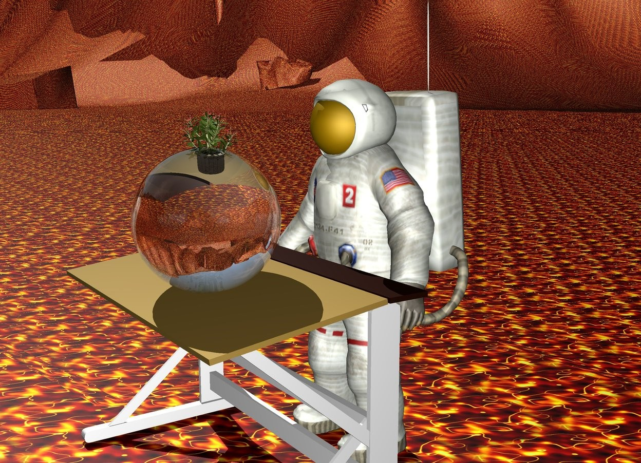 Input text: The man is behind a desk. The ground is [Texture]. There is a big clear sphere on the table. the plant is  inside the big clear sphere.