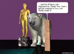a black [marble] cube is 1.5 feet wide. a shiny gold man is on the cube. a  large polar bear is 0.5 feet  right of the cube. a microphone is 0.1 feet southeast of the bear. it is 3 feet above the ground. it faces the bear. it sits on a 3 feet tall and 0.5 feet wide and 0.5 feet deep [wood] block. the ground is black. the sky is purple. A pink light is on the bear. a cyan light is on  the man