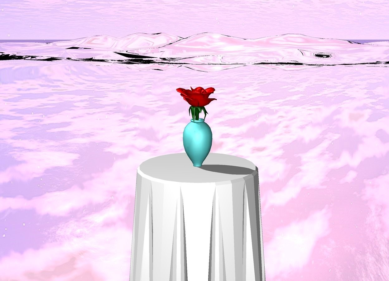 Input text: the ground is silver.  There is a flower in the small vase. the vase is on a table.