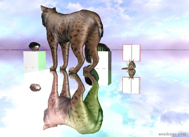 Input text: The ground is silver. The cat facing the hedgehog. The hedgehog is facing the cat. A purple light is behind the cat. The book is on the mouse. The carrot is behind the mouse. The cube is behind the cat. A green light is above the cube. A red light is under the hedgehog. The hedgehog is sitting on a cube. A pink light is behind the hedgehog. A barrel cactus is 3 feet behind the cat.