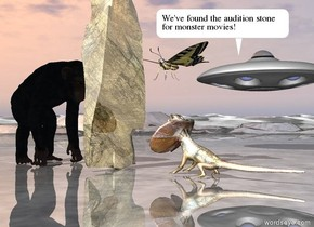an enormous lizard is 3 feet in front of a huge gold rock. it is facing the rock. the rock is face down. the large chimpanzee is a couple of feet behind the rock. a ufo is 20 feet to the right of the rock. it is 9 feet above the ground. the ground is shiny. the humongous  butterfly is 2 feet to the right of the rock. it is 8 feet above the ground. it is facing the rock.