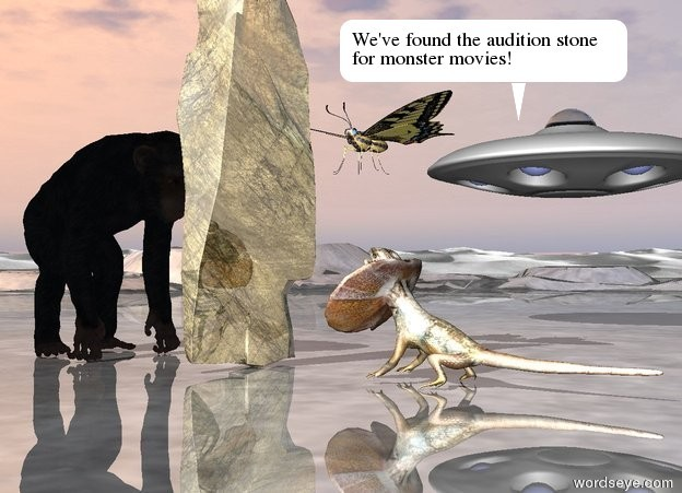 Input text: an enormous lizard is 3 feet in front of a huge gold rock. it is facing the rock. the rock is face down. the large chimpanzee is a couple of feet behind the rock. a ufo is 20 feet to the right of the rock. it is 9 feet above the ground. the ground is shiny. the humongous  butterfly is 2 feet to the right of the rock. it is 8 feet above the ground. it is facing the rock.