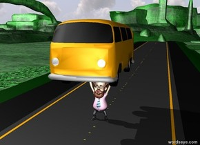 A car is on the man. The man is on a 1000 foot long road. The road is wide. The ground is green