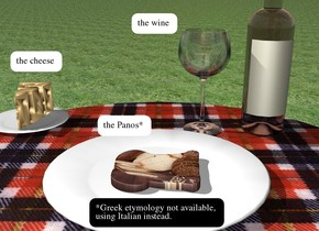 the first plate is on the plaid table.  the [bread] bread is on the plate. a second small plate is behind and 1 inch to the left of the plate. the cheese is on the second plate. the bottle is behind and to the right of the first plate. the wine glass is an inch to the left of the bottle. the ground is grass.