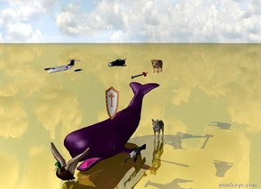 a whale.the whale is purple. the very big missile is 6 feet above the whale. a very small plane is 2 feet to the left of the missile. the plane is 3 feet in front of the missile.a very big shield is on top of the whale.there is a very big arrow. the arrow is 15 feet above the ground.the arrow is 5 feet behind the missile. a very big tiger is 7 feet behind the arrow. a giant bird is in front of the whale.a very big gun is to the right of the whale.the gun is 6 feet behind the bird.a big wolf is 6 feet behind the gun.the ground is gold.