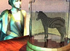 the ground is shiny tile. the zebra fits in a bell jar. the jar is on the table. a yellow light is a foot above the zebra. a tiny cyan light is 2 feet right of the zebra. the three foot tall woman is in front of the table. she is facing the table.