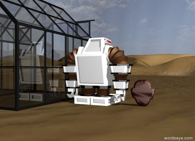 Input text: the robot is five feet to the side of  twenty greenhouses