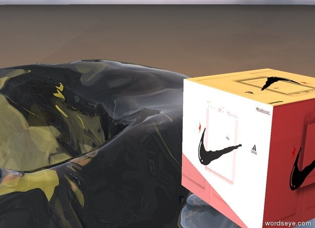 Input text: the [nike] is in the big clear snow cave. the huge  [fila]  light is above the athlete.  the humongous lemon light is in front of the [nike] . the camera light is red. it is morning.