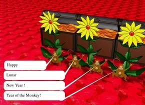 The sky is red. the ground is glass. There are four monkeys on the ground.  There are 3 enormous yellow flowers behind the monkeys on the ground. There are 3 big boxes 1 foot behind the flowers.
