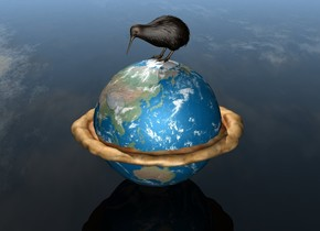 the earth is 1.5 feet in the pizza. the pizza is 4 feet wide. the kiwi bird is on the earth. the ground is invisible.