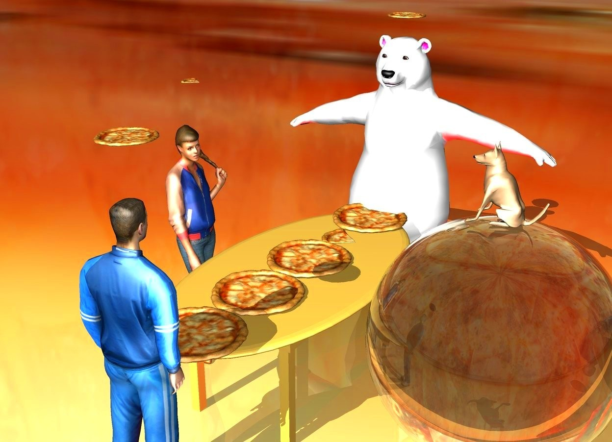 Input text: There is a [pizza] ground. The [pizza] sky. There is a large table on the ground. There are five large pizzas on the table. There is a large man next to the table. The large man is facing east. There is a large woman behind the table. There is a large bear on the right of the table.  The large bear is facing west. There is a pizza a foot above the bear. There is a pizza 2 feet above the woman. There is a pizza 2 feet above the man. There is an enormous clear sphere in front of the table. There is a dog on top of the sphere. The dog is facing north. There is a bright red light.