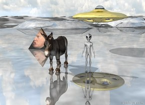 the donkey is a couple of feet to the left of the alien. the small gold  ufo is 10 feet behind the alien. it is 5 feet above the ground. the huge [trump] pyramid  is 10 feet behind the donkey. it is 5 feet to the left of the donkey. the ground is shiny.