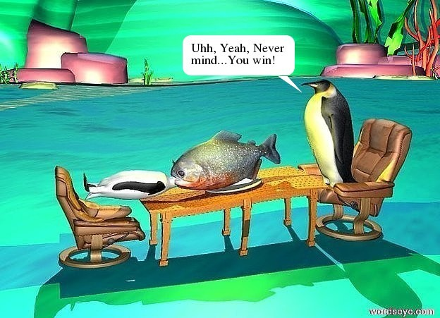 Input text: 1st penguin is on a chair. a table is in front of the chair. a large plate is on the table. a giant piranha is on the plate. 2nd penguin is -0.37 feet in front of the piranha. it is leaning 90 degrees to the back. 2nd chair is in front of the table. it faces the table. a yellow light is on the piranha