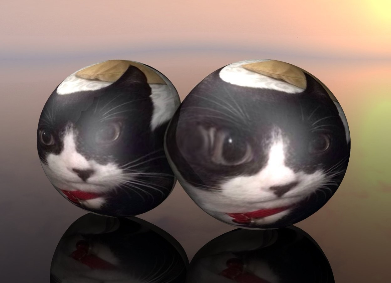 Input text: The huge [jiji01] sphere. the ground is clear. the 2nd huge [jiji01] sphere is next to the [jiji01] sphere.