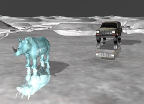The water rhino. the sky is bright silver. the ground is silver. There is a car on the right of the rhino. the car is 30 feet behind the rhino. The car is camouflage.