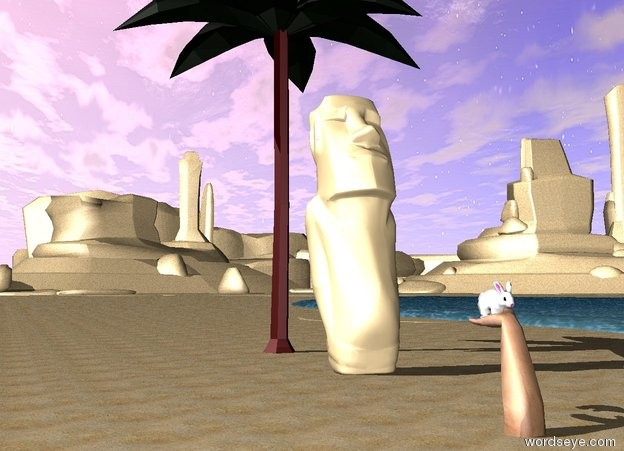 Input text: the ground is sand. there is water on the ground. there is a  small palm tree near the water. there is a statue in front of the plant.  the large policeman is 5 feet in front of the statue. he is face up. he is 2.4 feet in the ground. the bunny is -3 inches above the policeman. he is -1.3 feet behind and -2.7 feet to the right of the policeman.