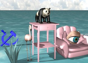 There's an ocean.There is a pink table above the ocean. There's a very small panda on the table. There's a small flamingo next to the table. There's a small pink armchair to the right of the table. There's a huge eye on the armchair. There's a very small century plant next to the flamingo. There's a small blue hammer and sickle emblem very far behind the century plant.