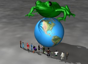 The light green frog is on top of the earth.  The frog is 3 feet long.  12 people are in front of the earth.  The people are 6 inches tall.  The people are facing the frog.  The people are 3 feet away from the frog
