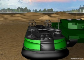 The big green hovercraft is in the desert. The  huge dark green tank is 75 feet away from the hovercraft.