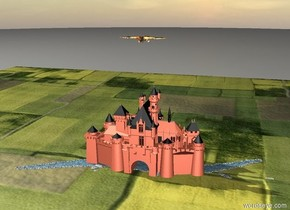 The big rainbow dragon is 30 feet above the peach castle. The castle is in a huge meadow.