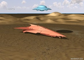 The light peach spaceship was in the desert. The sky blue UFO was 15 feet above the spaceship. The land speeder was 20 feet left of the spaceship