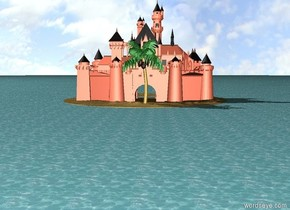 The big sand island was in the huge ocean. The peach castle was on the island. The palm tree was 7 feet in front of the castle.