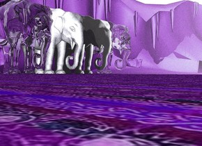 There is an elephant. the elephant is [texture]. There is an enormous mirror on the right of the elephant. the mirror is clear. the mirror is in the ground. the mirror is 100 feet wide. it is facing east.There is a clear elephant next to the elephant. it is afternoon. the ground is [texture].