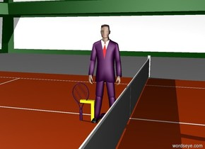 Thin purple man under a purple hat.  Above the hat, yellow upside-down L.  orange shoes under the man.  purple tennis racket next to the man.  The floor is grass.  the man is inside a stadium