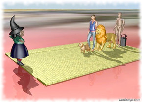 The large dog is on the yellow brick road. The witch is 8 feet in front of the dog. The witch is facing the dog. The girl is behind the dog. The lion is behind the girl. The scarecrow is behind the lion. The large can is behind the scarecrow. The ground is flowery. The sky is sunny.