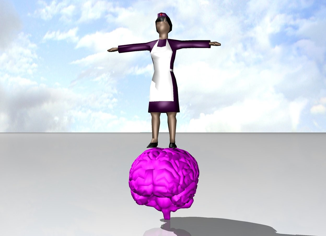 Input text: purple nurse on huge magenta brain.  white ground.  shiny [cloud] sky.