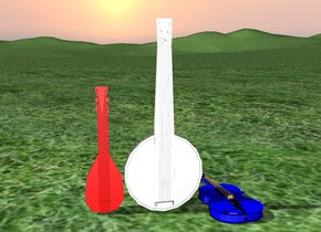 white banjo.  blue violin right of banjo.  red mandolin to the left of banjo.  grass ground.