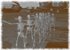 Twenty skeletons are next to a skeleton.