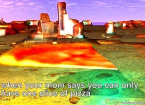 A pizza is in the air. A red light is above the pizza. A cyan light is to the right of the pizza. A lemon light is to the left of the pizza. The pizza is 7 feet tall.