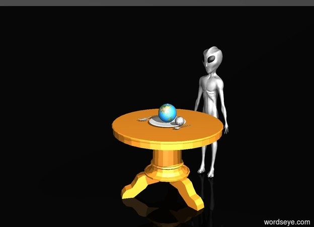Input text: A table. On the table is a plate. On the right of the plate is a fork. On the left of the plate is a spoon. On the plate there is a tiny Earth. One inch on the left of the Earth is tiny moon. On the front of the table is an alien. The alien is facing the plate. Sky is black. Ground is black.