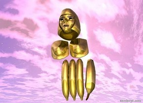 there are 4 gold bananas 2 feet above the ground.the bananas are 2 feet apart. there are 2 gold breasts above the bananas. there is a gold head above the breasts. the bananas are facing up