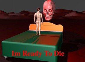 there is a small man on a bed. there is a huge black skull 1 foot behind the bed. the skull is 3 foot above the ground. the man is facing the skull. there is a red light above the skull. there is a huge dark red light to the left of the man. the ground is dark red and small. the sky is black. the man is not afraid.