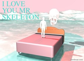 there is a small chrome man on a pink bed. there is a huge chrome skull 1 foot behind the bed. the skull is 3 foot above the ground. the man is facing the skull. there is a red light above the skull. there is a huge dark red light to the left of the man. the water ground is turquoise and small. the sky is pink. the man is not afraid.