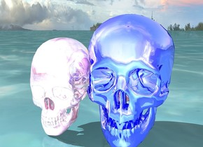the ground is water. there is a hot pink chrome skull next to a blue chrome skull next to a chrome skull.