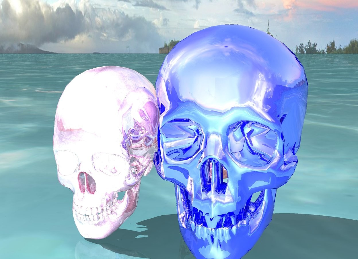 Input text: the ground is water. there is a hot pink chrome skull next to a blue chrome skull next to a chrome skull.