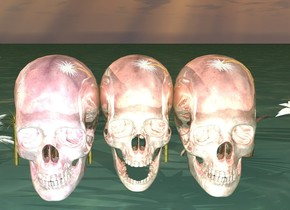 it is sunset. the ground is dark blue water. there is a hot pink chrome skull next to a blue chrome skull and a pink chrome skull. there are 10 pink chrome palm trees behind the pink chrome skull. the palm trees are 5 inches tall. there are 3  chrome palm trees behind the blue chrome skull.