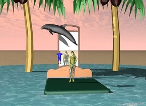 The big bed is in a lake. The ground is sand. There is a small blue boy one foot above the bed. There is a yellow girl five inches to the right of the blue boy. The yellow girl is  on the bed. There are four palm trees behind the bed. There is a dolphin one foot above the small blue boy. The dolphin is facing left. There is a huge mirror eight feet behind the girl.