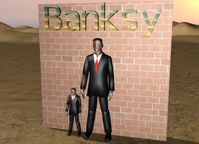 "The businessman is in front of the brick wall. the rainbow ""Banksy"" is above the businessman. the little businessman is next to the businessman."