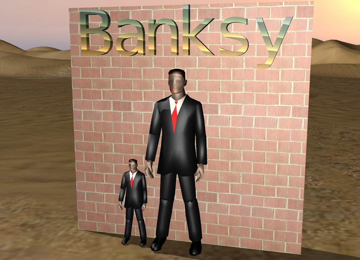 "Input text: The businessman is in front of the brick wall. the rainbow ""Banksy"" is above the businessman. the little businessman is next to the businessman."