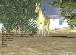 It is day. the ground is stone. The city is in the background. there is a man sitting on a gold chrome horse. the man is 2 feet tall. there are trees behind the horse.