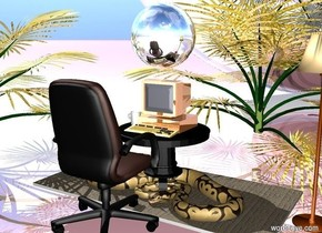 the computer is on a table. a mug is 1 inch from the computer. the mug faces east. a carpet is under the table. a chair is in front of the table.  the chair faces  north. the table is black. a gold palm tree is behind the carpet. another gold palm tree is left of the carpet. the ground is shiny pink. the sky is cloudy.  a python  is on the carpet.  a lamp is right of the carpet. a silver orb is 4 inches above the computer. a gigantic silver orb is 5 feet behind the carpet. the computer is shiny.