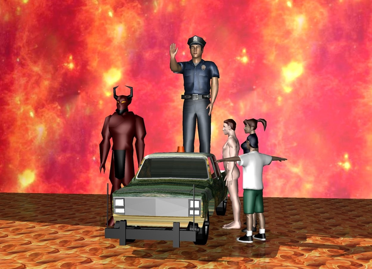 Input text: a 10 foot tall policeman. a monster truck. the policeman is on the monster truck. a man is to the right of the truck. a woman is to the right of the man. the woman is facing the truck. the man is facing the truck. the ground is fire. the sky is a mountain. a fire wall is three meters behind the truck. the wall is enormous. a child is in front of the woman. the child is facing the truck. a devil is to the left of the truck. the devil is 8 feet tall.
